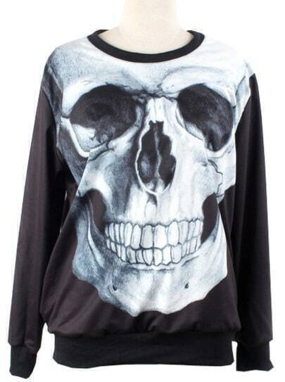 Black Long Sleeve Skull Print Loose Sweatshirt
