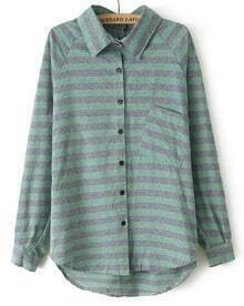 Green Lapel Long Sleeve Striped Loose Blouse