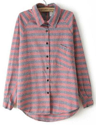 Red Lapel Long Sleeve Striped Loose Blouse