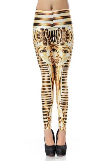 Yellow Skinny Striped Tutankhamun Print Leggings