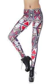 Red Skinny Q Hearts Print Leggings