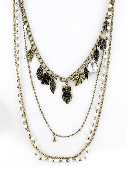 Retro Gold Leaves Owl Chain Necklace