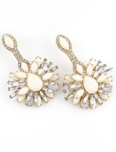 White Gemstone Gold Crystal Earrings