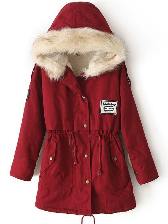 Red Fur Hooded Zipper Embellished Fleece Inside Military Coat