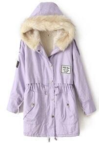 Purple Fur Hooded Zipper Embellished Fleece Inside Military Coat