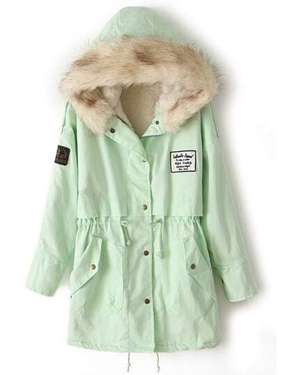 Mint Green Fur Hooded Zipper Embellished Fleece Inside Military Coat