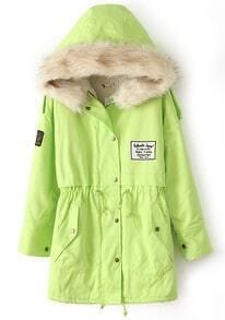 Green Fur Hooded Zipper Embellished Fleece Inside Military Coat