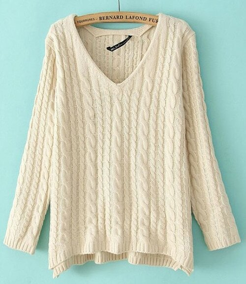 Beige V-neck Long Sleeve Loose Cable Knitting Sweater -SheIn ...