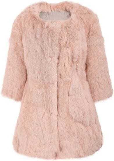 Pink Round Neck Faux Fur Long Coat