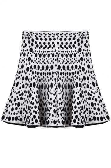 White Polka Dot Ruffle Knit Skirt