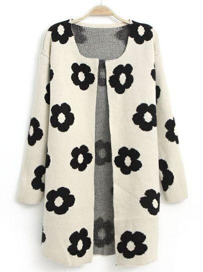White Long Sleeve Sunflower Pattern Cardigan