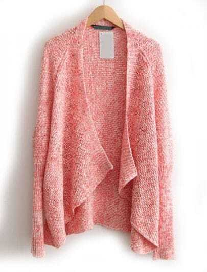 Pink Long Sleeve Loose Knit Cardigan