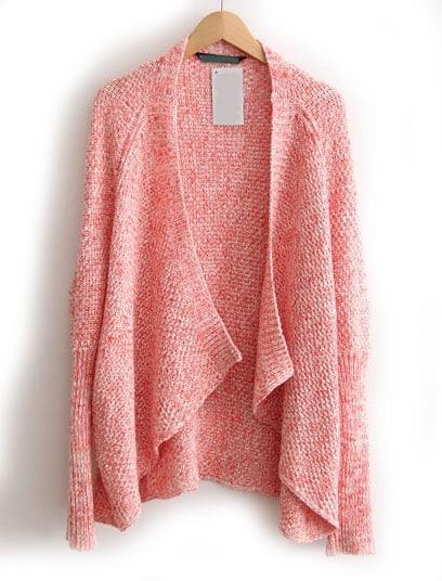 Pink Long Sleeve Loose Knit Cardigan -SheIn(Sheinside)