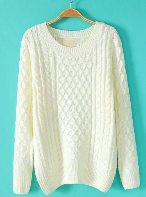 White Batwing Long Sleeve Cable Knit Sweater -SheIn(Sheinside)