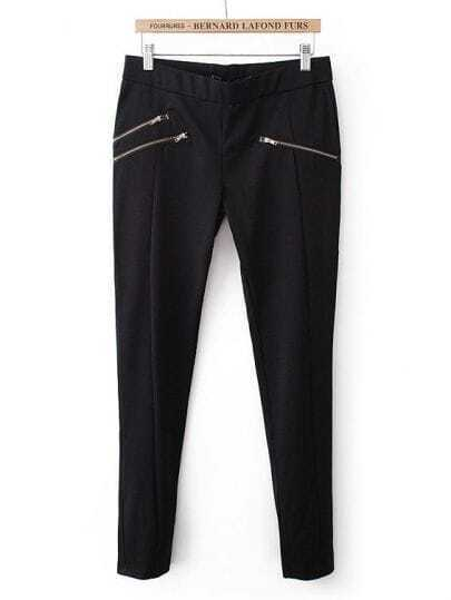 Black Zipper Embellished Pencil Pant