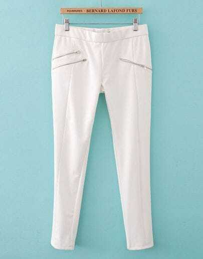 White Zipper Embellished Pencil Pant