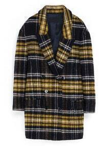 Yellow Navy Long Sleeve Plaid Trench Coat