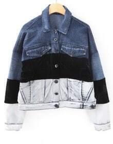 Blue Black White Lapel Long Sleeve Denim Jacket