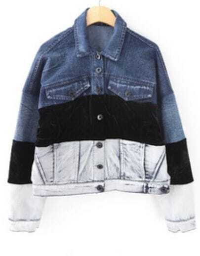Blue Black White Lapel Long Sleeve Denim Jacket