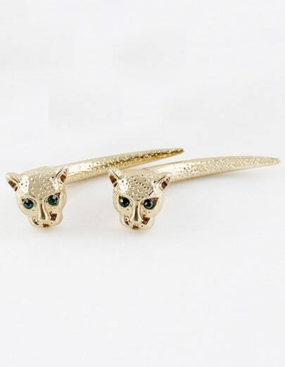 Gold Leopard Head Stud Earrings