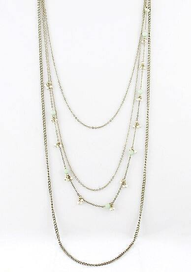 Gold Bead Multilayer Chain Necklace