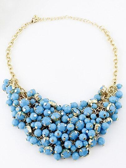 Blue Bead Tassel Gold Chain Necklace