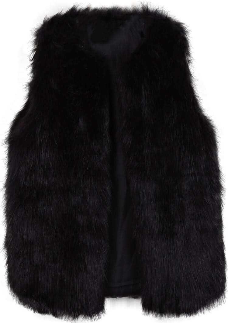 Veste en fausse fourrure de renard sans manche noir french shein sheinside - Fourrure noir sans manche ...