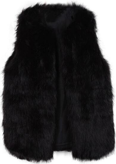 Black Sleeveless Faux Fur Vest