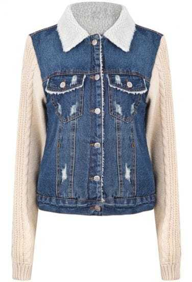 Blue Contrast Apricot Long Sleeve Ripped Denim Jacket