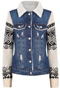 Blue Contrast Black Long Sleeve Ripped Denim Jacket