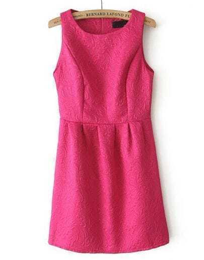 Rose Red Round Neck Sleeveless Embroidered Slim Dress