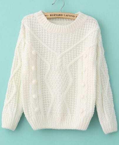 White Long Sleeve Twisted Ball Diamond Patterned Sweater