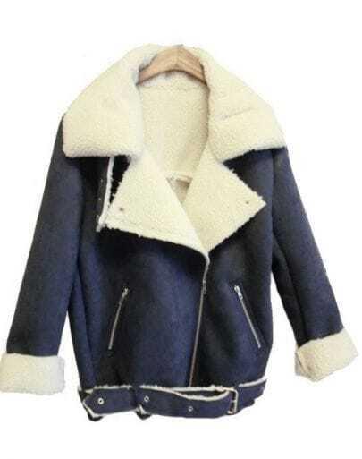 Blue Lapel Long Sleeve Zipper Pockets Coat