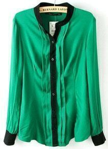Green Long Sleeve Contrast Trims Pleated Blouse