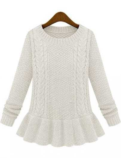 Ivory Long Sleeve Cable Knit Ruffle Sweater