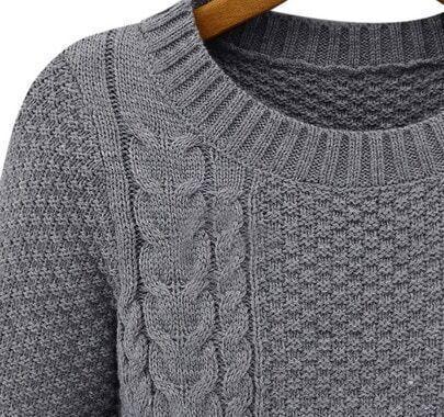 Grey Long Sleeve Cable Knit Ruffle Sweater -SheIn(Sheinside)