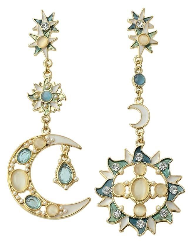 White Gold Moon Earrings Blue White Gemstone Gold Moon