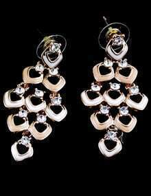 Gold Crystal Hollow Earrings