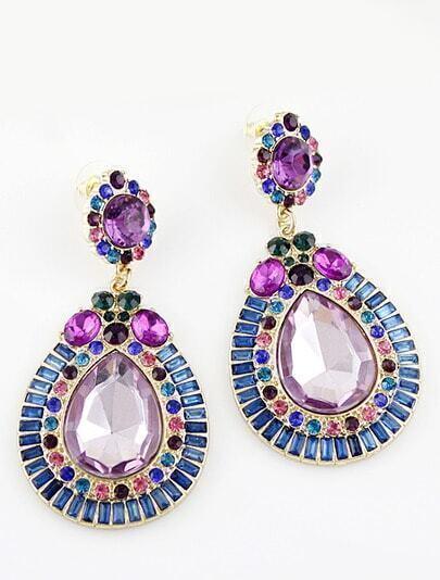 Blue Purple Gemstone Gold Drop Earrings