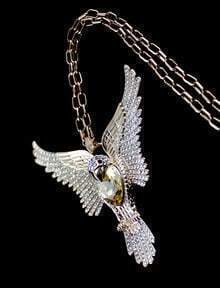 Yellow Gemstone Gold Eagle Chain Necklace