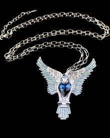 Blue Gemstone Silver Eagle Chain Necklace