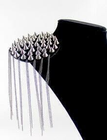 Retro Silver Rivet Chain Tassel Brooches