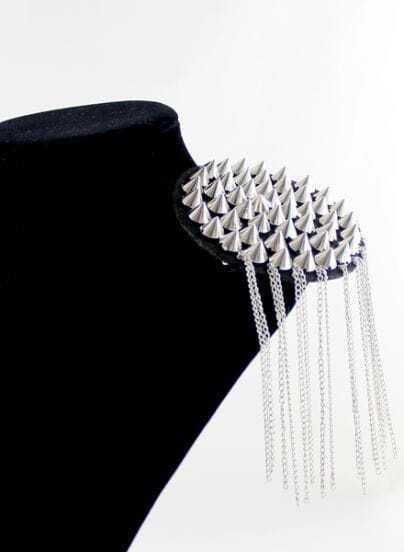 Silver Rivet Chain Tassel Brooches