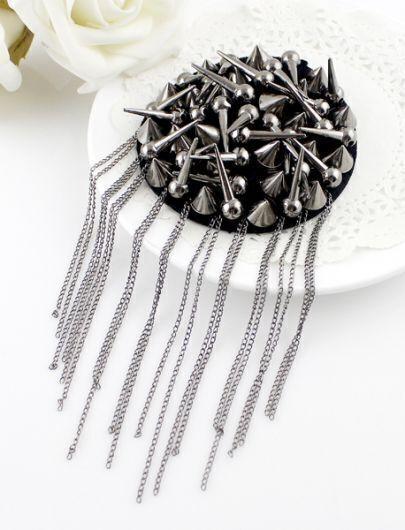 Retro Silver Spike Chain Tassel Brooches
