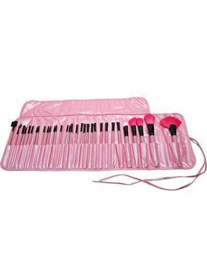 32 pcs Makeup Brush Kit with Pink Case
