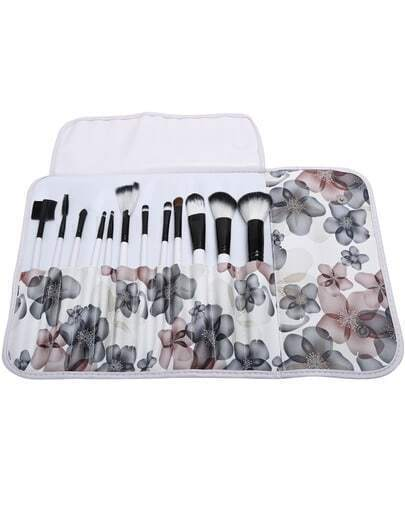 12 pcs Makeup Brush Kit with White Floral Case