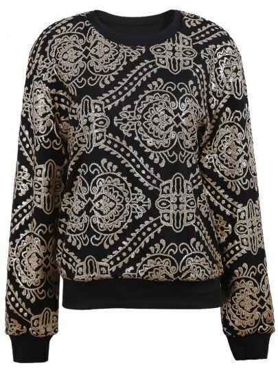 Black with Gold Sequined Embellished Geo Pattern Sweatshirt