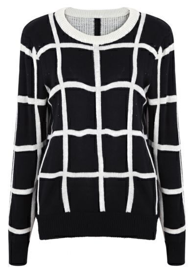 Black Long Sleeve Plaid Loose Pullovers Sweater