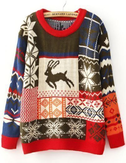 Coffee Deer Snowflake Fair Isle Pattern Sweater
