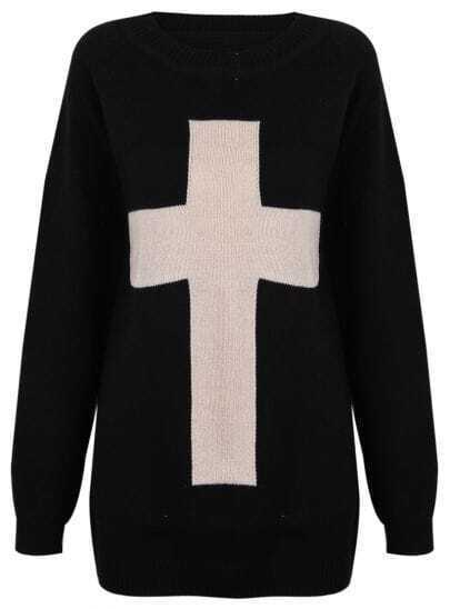 Black Long Sleeve Cross Embellished Pullovers Sweater